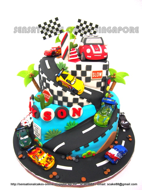 The Sensational Cakes RACE CARS THEME CAKE SINGAPORE 3D MINI