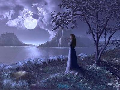 POEMAS SIDERALES ( Sol, Luna, Estrellas, Tierra, Naturaleza, Galaxias...) - Página 13 Mujer%2Bmirando%2Ba%2Bla%2Bluna