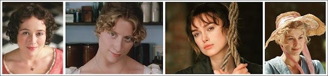 Jennifer Ehle, Susannah Harker, Keira Knightley, Rosamund Pike, atrizes que viveram Elizabeth e Jane em Orgulho e Preconceito, filme e minissérie da BBC