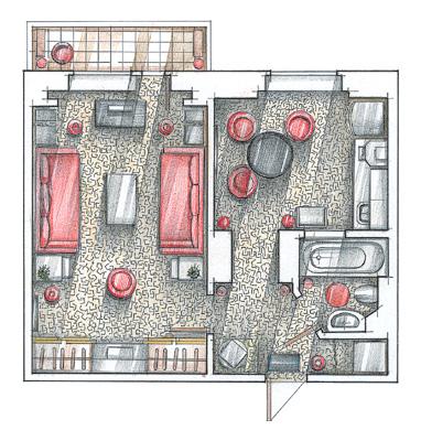 Перепланировка 5 комнатной квартиры в 4 комнатную