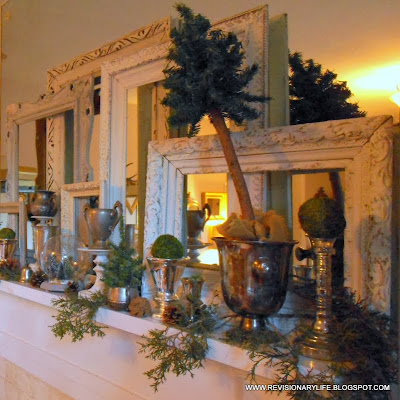 Christmas tarnished silver and picture frame mantel