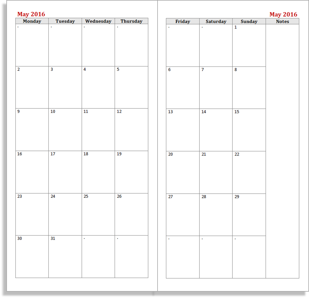 Free 2016 planner inserts for the Midori Traveler's Notebook - Monthly ...