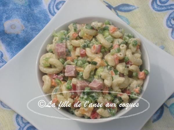 La fille de l 39 anse aux coques salade de macaroni au jambon - Salade de pates jambon ...
