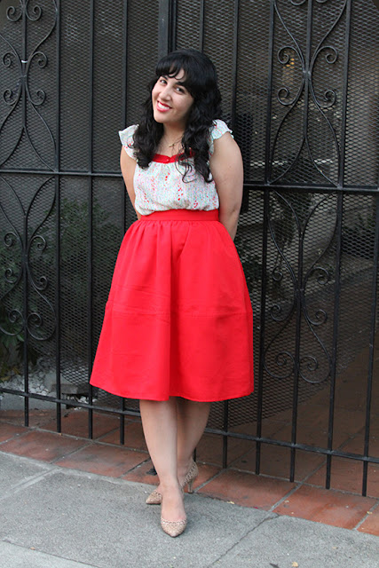 Express Red Midi Skirt and Loeffler Randall Heels Outfit