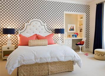 The crafty bee headboard round up for Blue patterned wallpaper bedroom