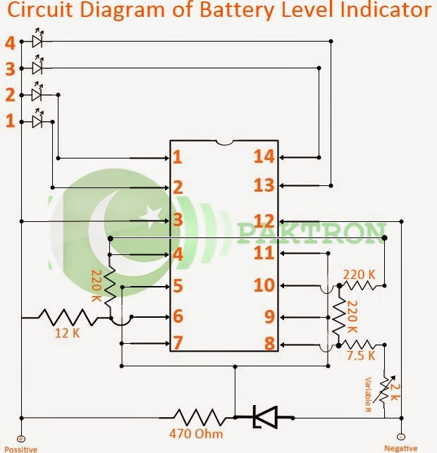 circuit diagram battery level indicator