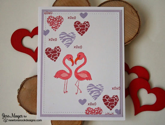 Flamingo Valentine by Jess Moyer - Stamp sets by Newton's Nook Designs