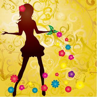 女性のシルエットと花の背景 Girl with Flowers Vector illustration イラスト素材
