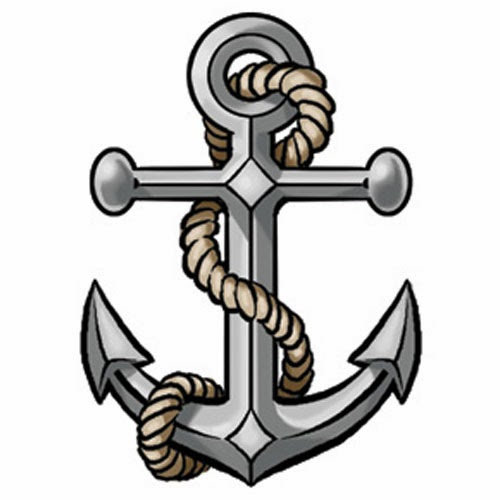 Anchor with rope tattoo stencil