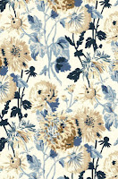 Floral Wallpaper Navy blue tan white T4133