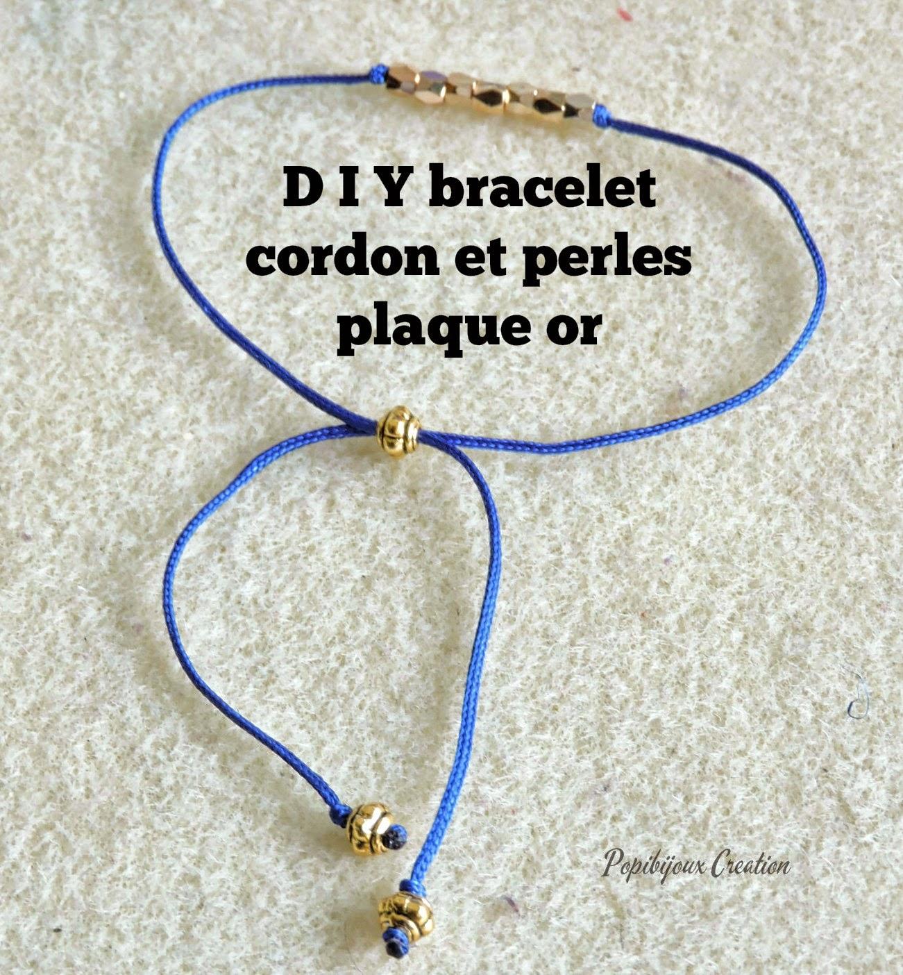les creations de popibijoux d i y bracelet cordon et petites perles en plaque or. Black Bedroom Furniture Sets. Home Design Ideas