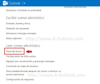 como agregar panel de lectura en outlook