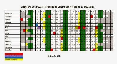 REUNIÕES DE CÂMARA PARA 2014