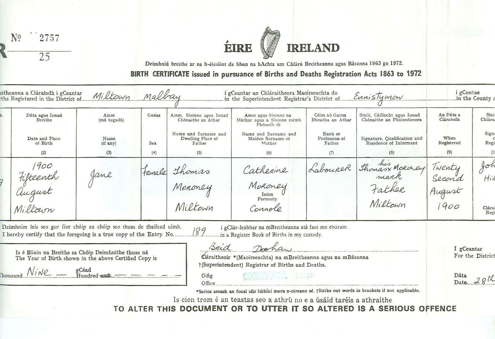 Moroney family of miltown malbay co clare eire jane moroney irish birth certificate aiddatafo Image collections