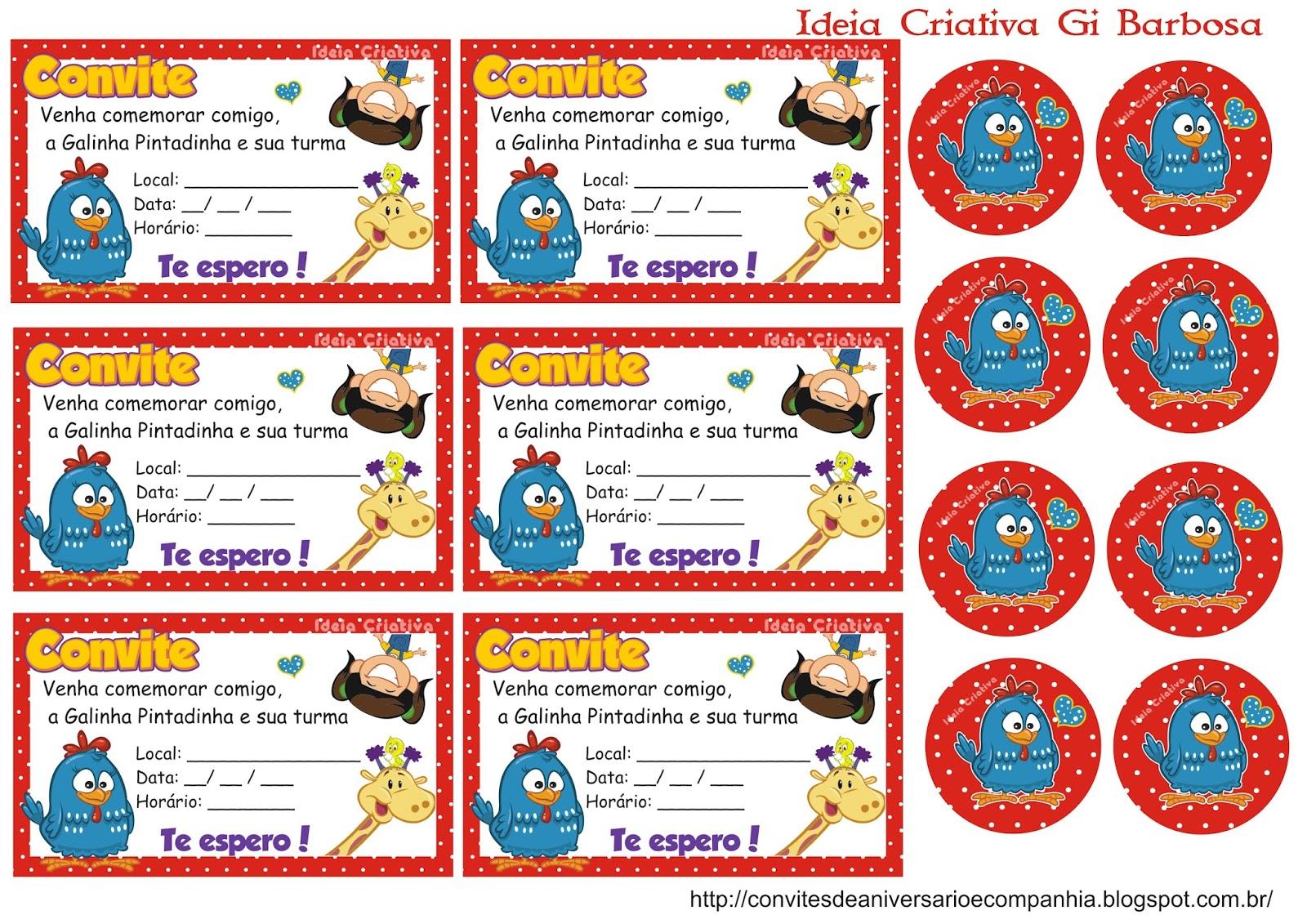 Convites de festa de aniversário infantil para imprimir