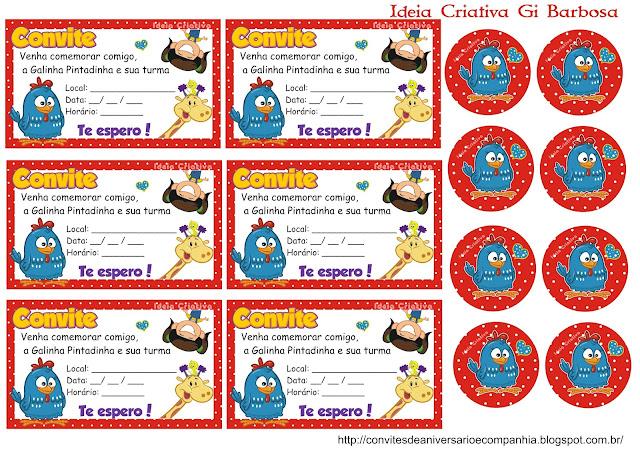 Convite para Imprimir Grátis Galinha Pintadinha