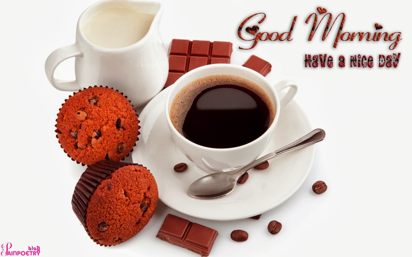 Good-Morning-Wishes-Wallpaper-With-A-Cup-Of-Tea-And-Two-Cakes-Image-HD-Wide