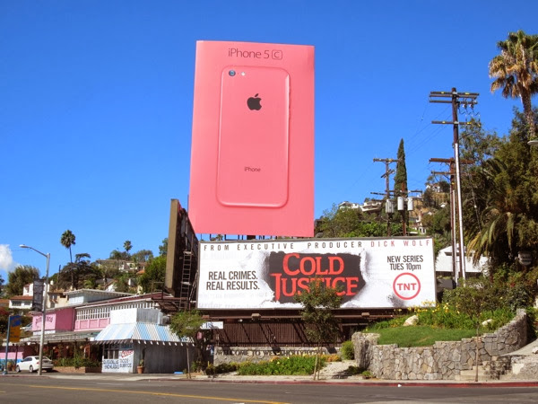 Giant Apple iPhone 5c pink billboard