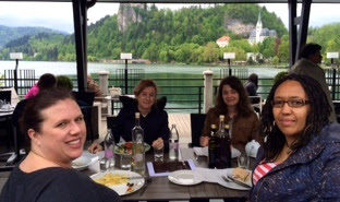 Pic of BP15 conference freelancers' lunch at Lake Bled, Slovenia