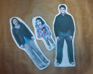 Printed fabric dolls created in Photoshop: cut outs of three people