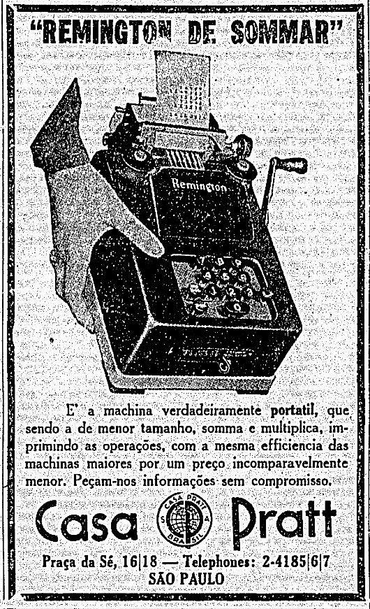 O anúncio de 1933 da calculadora Remington mostra que o conceito de portabilidade mudou bastante desde aquela época.