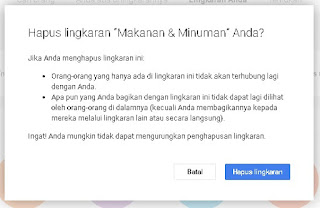 Notifikasi penghapusan lingkaran atau circles google plus (gplus)