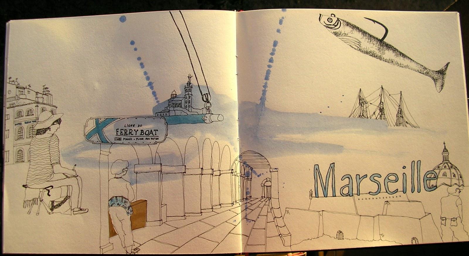 Cours de dessin croquis peinture carnets de voyage aix en provence 2011 - Sardine port de marseille ...
