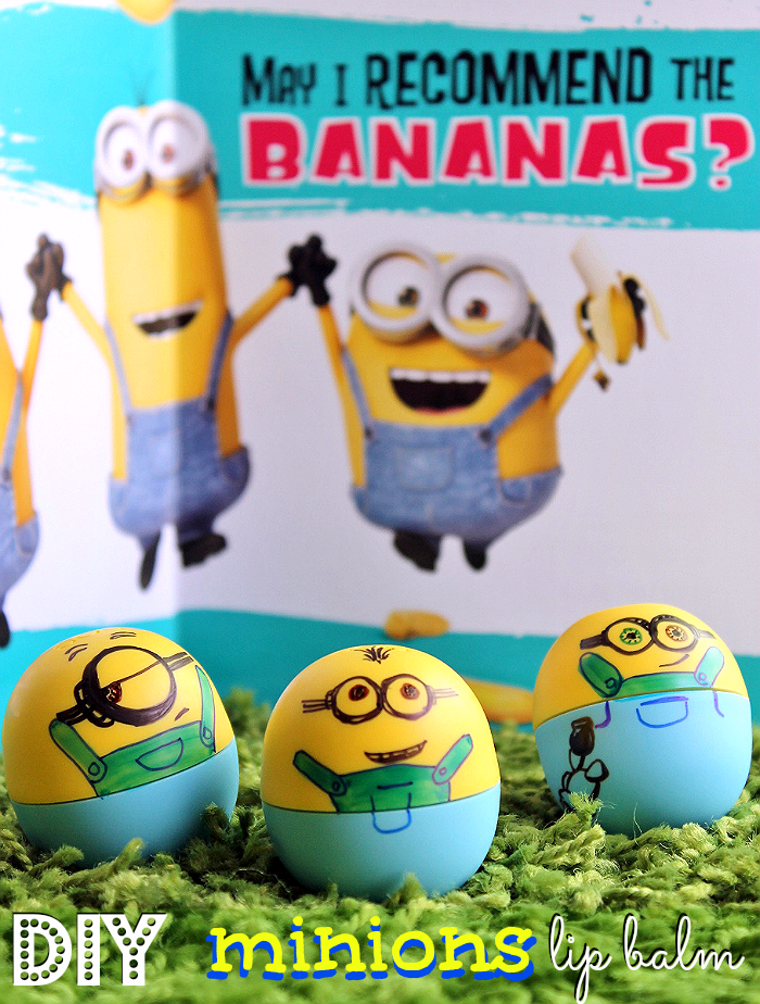 DIY Minions Lip Balms- Make a Minions Care Package for your loved ones today with exclusive Minions Hallmark merchandise at Walmart! #ad