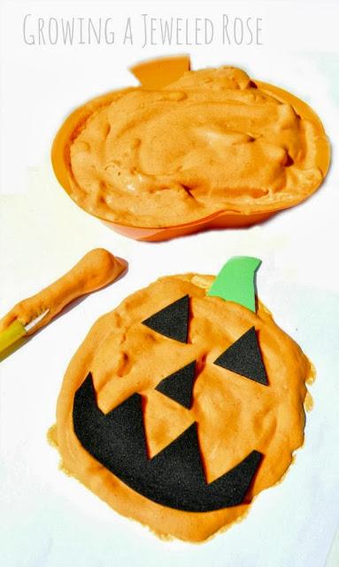 Homemade pumpkin puffy paint and art