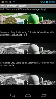 Convert bitmap from color to GrayScale using ColorMatrixColorFilter
