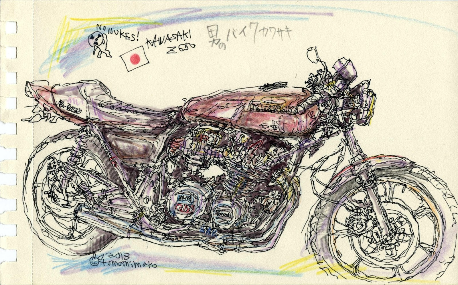 kawasaki z650 drawing