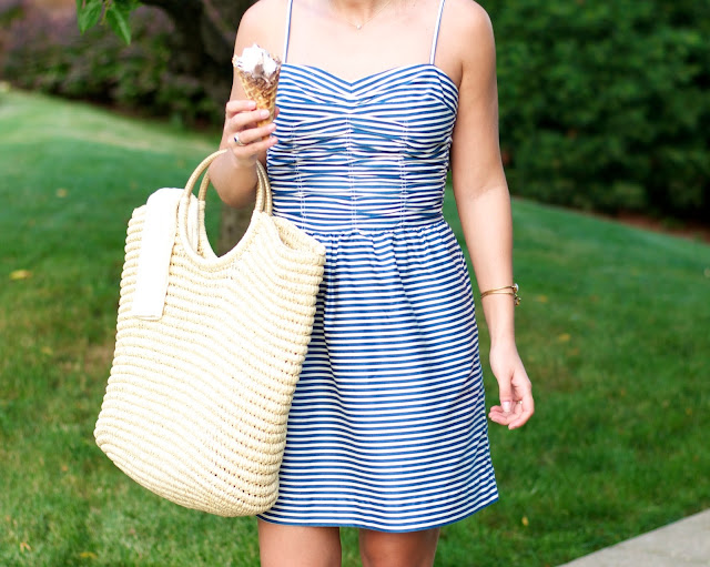Striped Dress and Straw Beach Tote