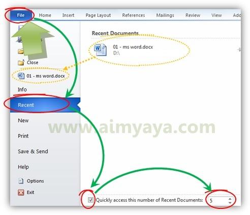 Gambar: Cara memunculkan recent documents pada backstage view Microsoft Word 2010