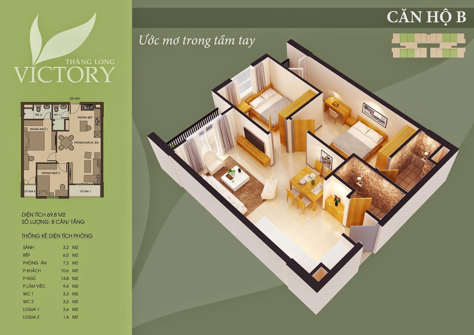 Căn Hộ 69m2 Chung Cư Thăng Long Victory