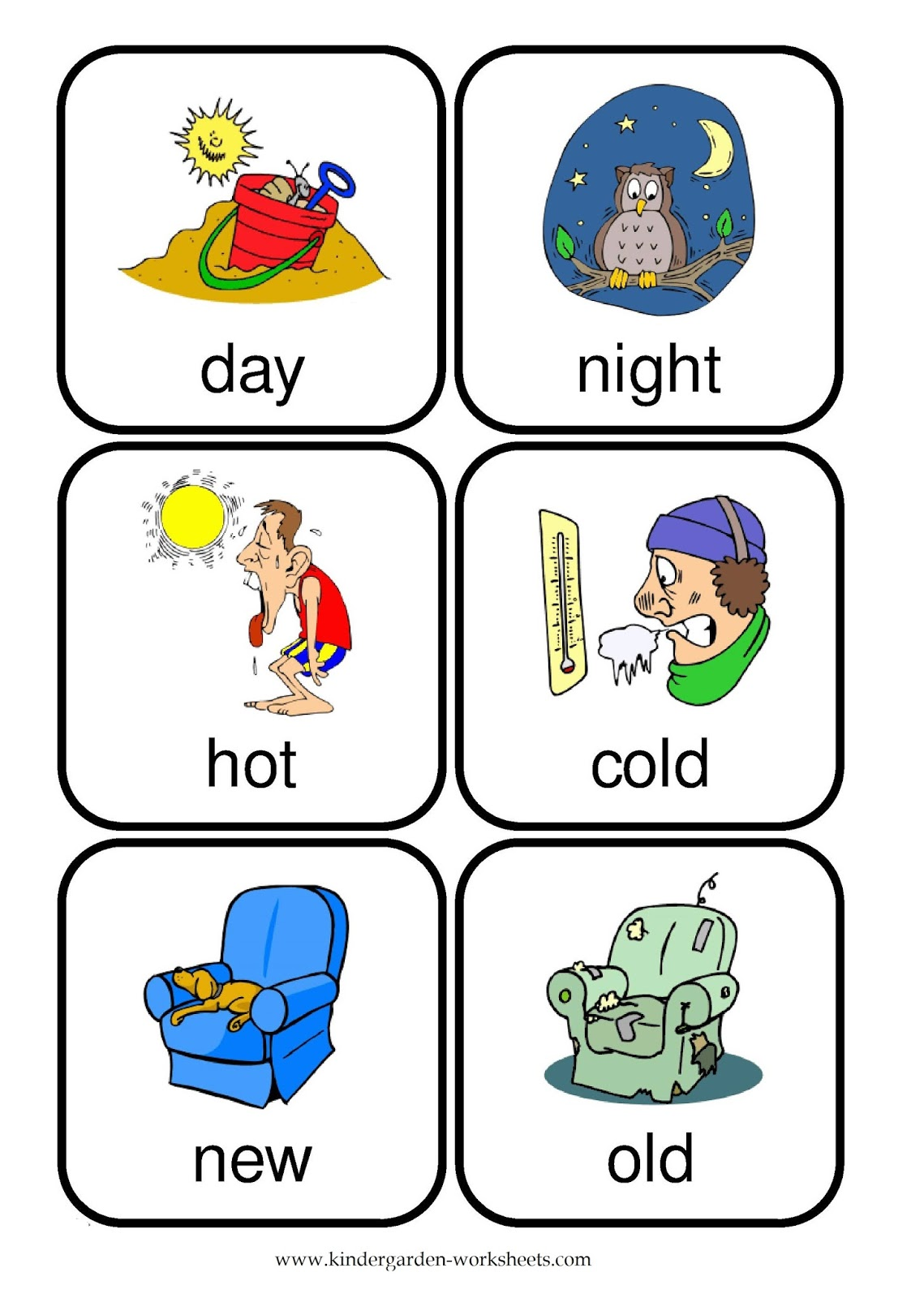 Kindergarten Worksheets Flashcards Opposite Words – Opposite Words Worksheets for Kindergarten