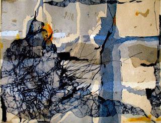 Karin Tiefensee: Überflug, Reservage, Aquatinta, 3 Platten, 2007