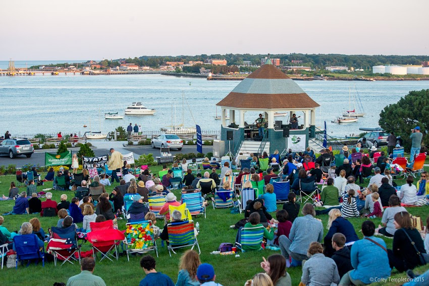 July 2015 Portland, Maine Munjoy Hill Friends of the Eastern Promenade concerts at Fort Allen Park Gazebo in the summer. Jason Spooner. Photo by Corey Templeton.