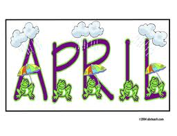 april written in purple with frogs holding umbrellas in front of it