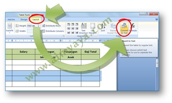Gambar: Cara konversi tabel atau cell menjadi teks di Microsoft Word