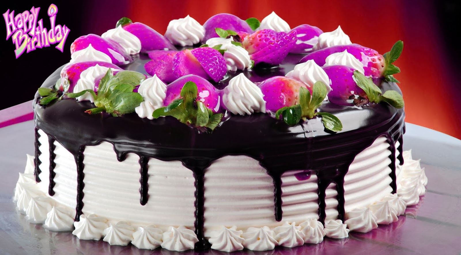 Happy-Birthday-Butter-Cake-With-Black-Chocolate-And-Strawberry-Image-HD-Wide