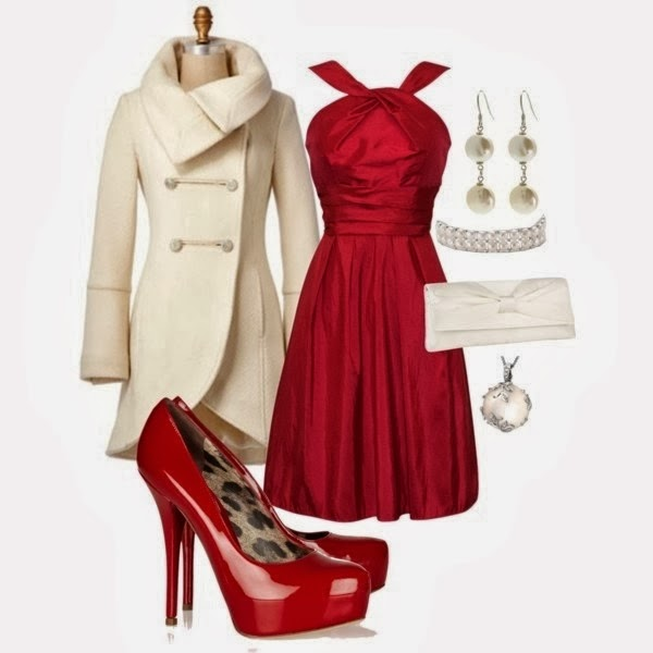 Amazing Christmas Outfit - Gorgeous Dress with High Heels, Adorable White Coat and Accessories