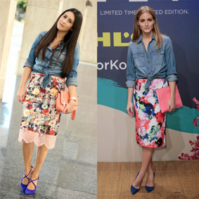 Olivia Palermo's Denim Shirt and Floral Skirt