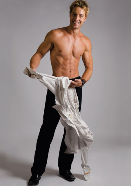 Justin Hartley, shirtless and smiling