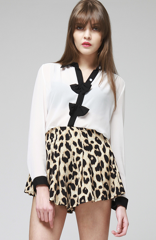 Leopard High Waist Culotte Shorts