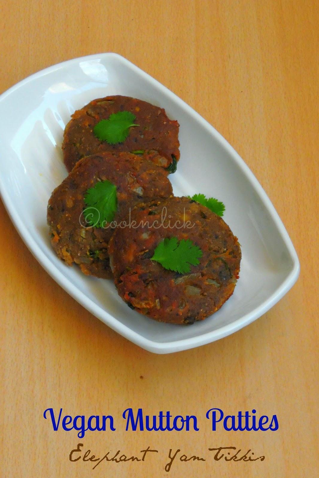 Elephant yam tikkis, karunai kizhangu cutlets, Vegan Mutton patties