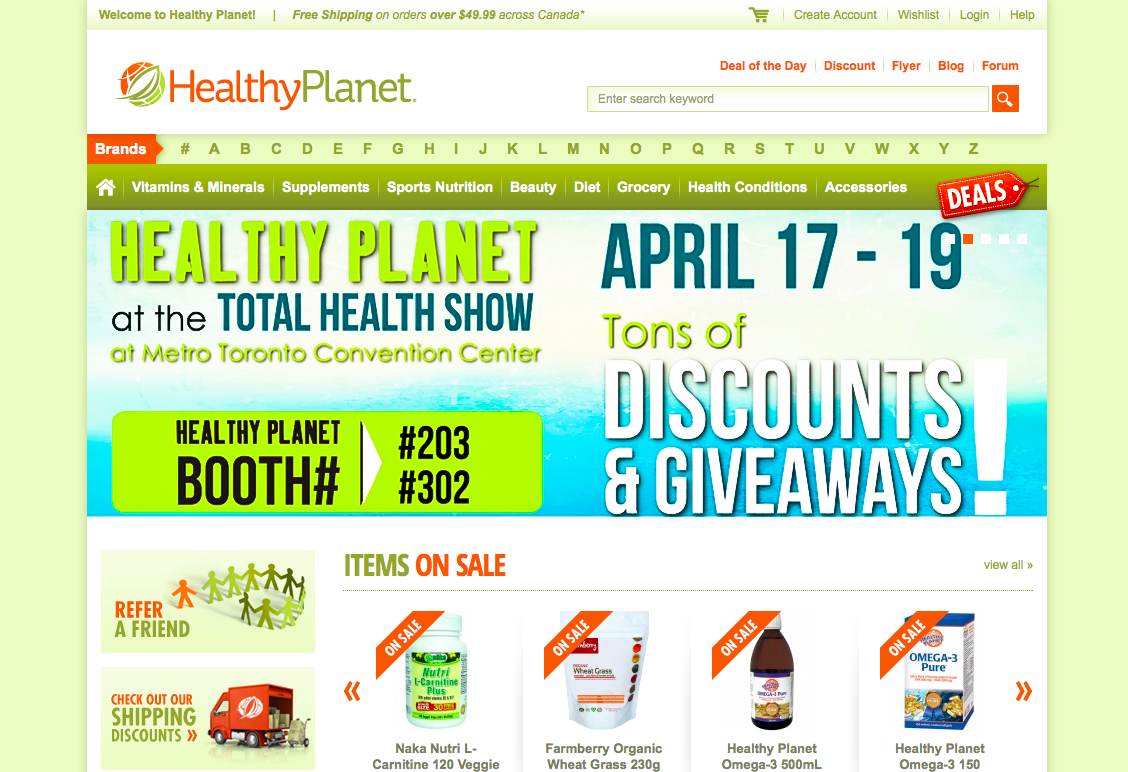 Online Shopping at Healthy Planet