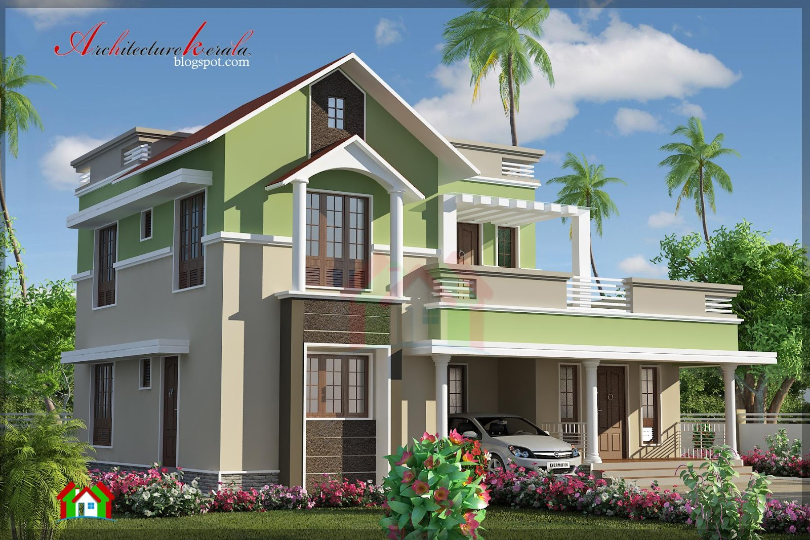 Architecture kerala 4 bhk contemporary house elevation for Kerala building elevation