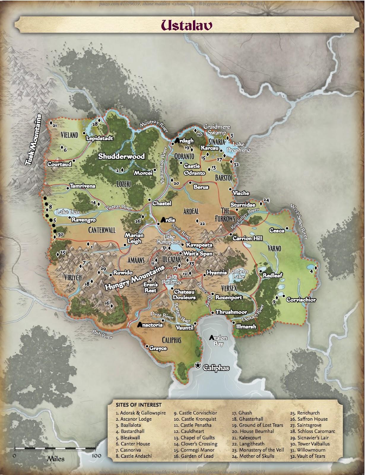 Carte d'Ustalav