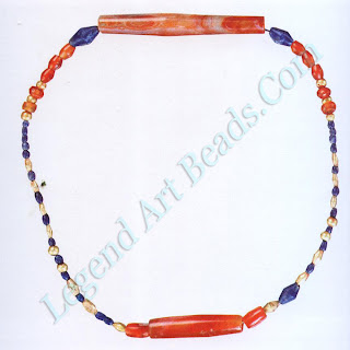 Though all early Mesopotamian beads are now strung on modern structures, the combination of the gold, carnelian, and lapis lazuli here is particularly interesting to the eye.