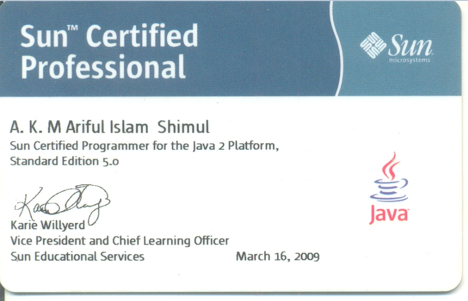 Sample SCJP Certificates and Images | onlinebooks